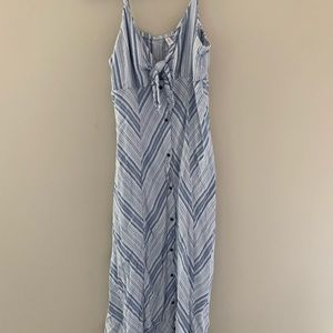 Blue stripped front tie maxi dress